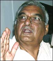 Haryana Chief Minister B S Hooda. Photograph: AFP/Getty Images