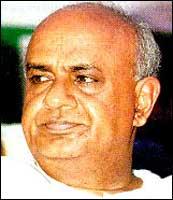 H D Deve Gowda. Photograph: rediff.com Archives.