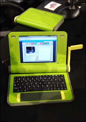 The $100 laptop developed by the Massachusetts Institue of Technology Media Lab, led by Professor Nicholas Negroponte. Photograph: Eric Feferberg / AFP / Getty Images