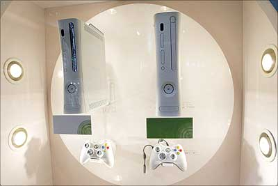 Microsoft Corporation's XBox 360 on display at the company's booth during the Tokyo Game Show 2006 in Chiba Prefecture, Japan. Photograph: Koichi Kamoshida/Getty Images