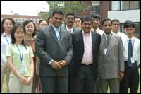 Infosys CEO Nandan Nilekani with company staff at the Infosys campus in Shanghai. Photo courtesy: Infosys