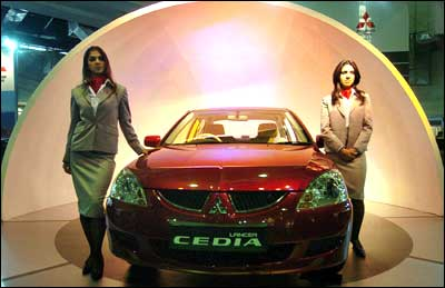 The Mitsubishi Cedia at the eighth Auto Expo in New delhi. Photograph: AFP/Getty Images