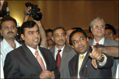 Reliance Industries Chairman Mukesh Ambani at RPL's listing ceremony at the Bombay Stock Exchange on May 11, 2006. Photograph: Arun Patil