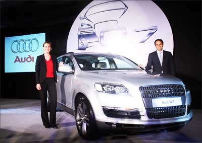 Audi Q7 being launched in India. Photograph:  Manan Vatsyayana/AFP/Getty Images