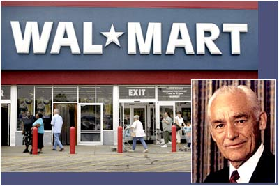 Photograph shows a Wal-Mart store in Riverside, Illinois, USA. (Inset) Wal-Mart founder Sam Walton. Photo: Scott Olson/Getty Images.