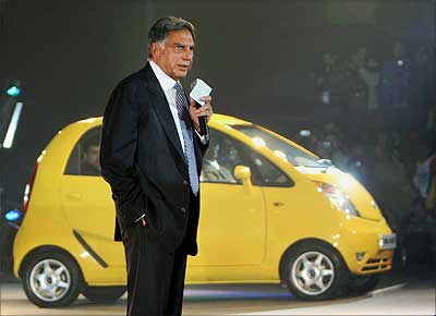 Tata Motors, Chairman Ratan Tata during the launch of its people's car, Tata Nano, at the 9th Auto Expo in New Delhi on Thursday. PTI Photo by Kamal Singh