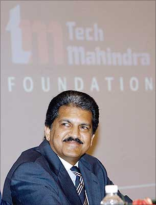Managing Director of Mahindra & Mahindra Anand Mahindra during a press conference to launch the Tech Mahindra foundation in Mumbai.