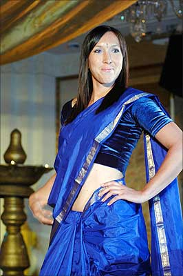 Tennis player Jelena Jankovich of Serbia strikes a pose while wearing a traditional Indian Saree