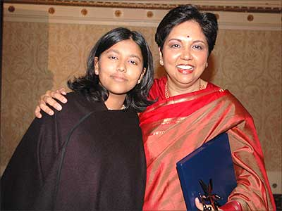 Indra Nooyi with her daughter at the India Abroad Person of the Year award ceremony in March in New York City. Photograph: Paresh Gandhi