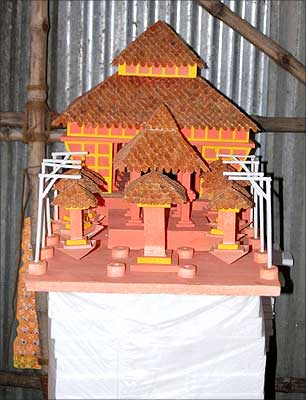 A model of a Durga Puja mandap in Kolkata.