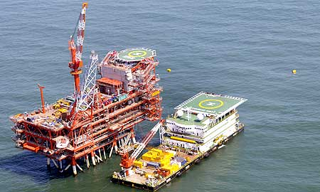 Reliance Industries' KG-D6 control and raiser platform is seen off the Bay of Bengal