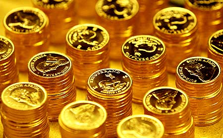 Gold bullion coins pictured in the mint