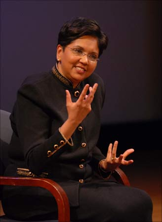 PepsiCo chief executive officer Indra Nooyi with Asia Society president Vishakha Desai at an Asia Society event in New York