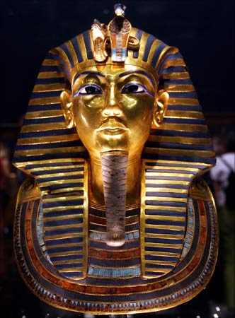 The gold mask of ancient pharaoh king Tutankhamen seen at the Egyptian museum. | Photograph:  Aladin Abdel Naby/Reuters