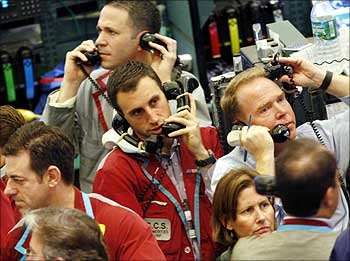Traders work in the pits at the The New York Mercantile Exchange.