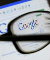 Image: A Google search page is seen through the spectacles of a computer user. Photograph: Darren Staples/Reuters