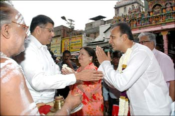 Anil Ambani and his mother, Kokilaben, at the Meenakshi Temple in Madurai on Sunday.