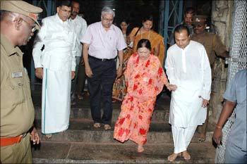 Anil Ambani with Kokilaben Ambani at the Meenaskhi Temple in Madurai on Sunday.