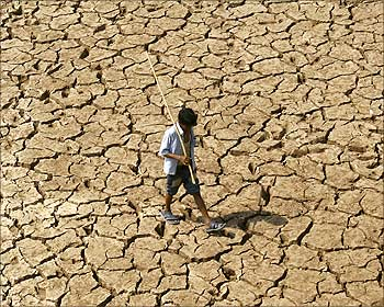 A man walks through the parched banks of Sukhana Lake in Chandigarh on May 19, 2009.