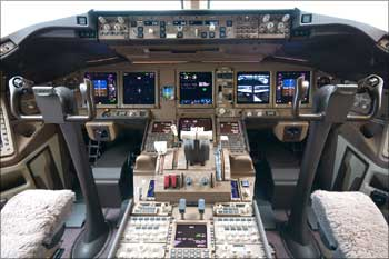 The cockpit of Air India Boeing 777-300 ER.