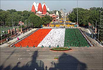 Children during the full dress rehearsal for the country's Independence Day celebrations in Delhi.