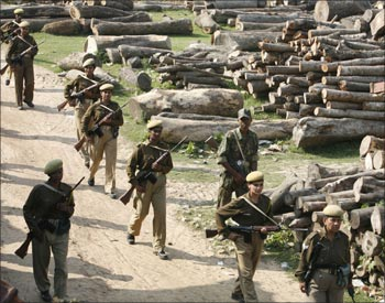 Paramilitary soldiers patrol Nandigram village, about 170 km (105 miles) southwest of Kolkata.