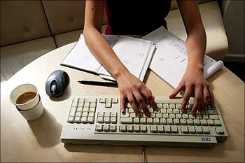 A woman working in an office.