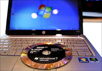 The new Windows 7 operating system installation DVD is pictured on a notebook at the Windows 7 Launch Party in New York.
