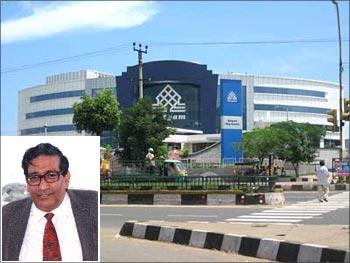 Satyam building. (Inset) Mendu Rammohan Rao