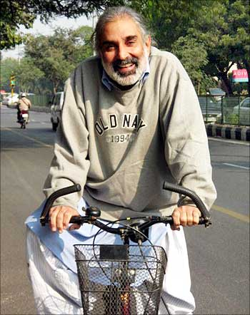Rahul Bedi on his bicycle