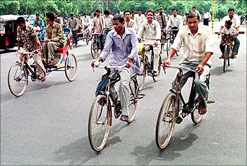 A common sight on Delhi's roads, bicycles are the most favoured mode of transport in India