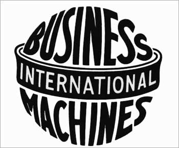 The IBM logo from 1924-46. 'Business Machines' is in a form intended to suggest a globe, girdled by the word 'International'.
