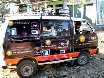 Marketing van in India, which drives around to rural areas to market the products.