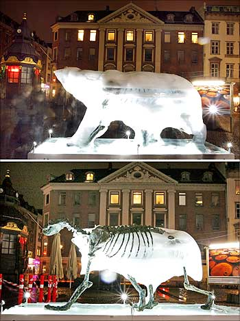 A combo photograph shows an ice sculpture of a polar bear and its melted skeleton in Copenhagen.