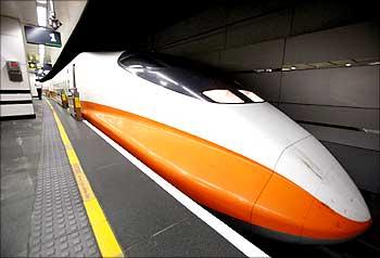 A Taiwan High-Speed Railway train prepares to leave in Taipei.