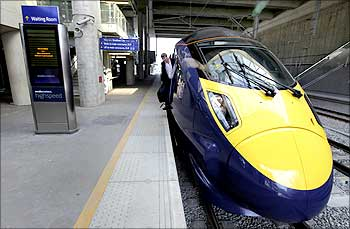 A high speed 'Javelin' train waits at a platform at Stratford International Station in Stratford, east London.