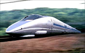 This montage picture shows Japan's bullet train, the 500-type Nozomi, developed by the West Japan Railway Co.