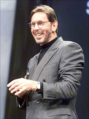 Oracle CEO Larry Ellison delivers the keynote address at the Oracle Open World conference in Los Angeles.