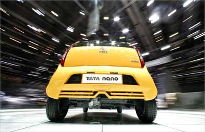 Tata Nano on display at the 78th Geneva Car Show. | Photograph: Denis Balibouse/Reuters