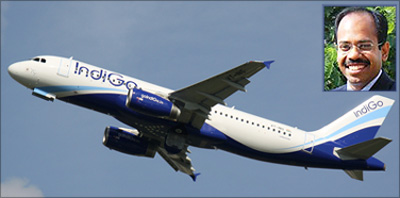 Indigo flight; Aditya Ghosh, president, Indigo Airlines (inset).
