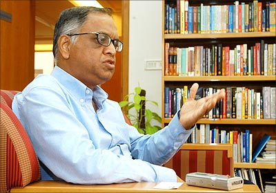 N R Narayana Murthy. | Photograph: Jagadeesh Nv/Reuters