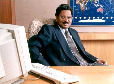 B Ramalinga Raju, chairman, Satyam Computer Services, in his office in Hyderabad. | Photograph: PK/Reuters