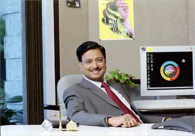 B Ramalinga Raju, chairman, Satyam Computer Services, in his office in Hyderabad. | Photograph, courtesy: Satyam