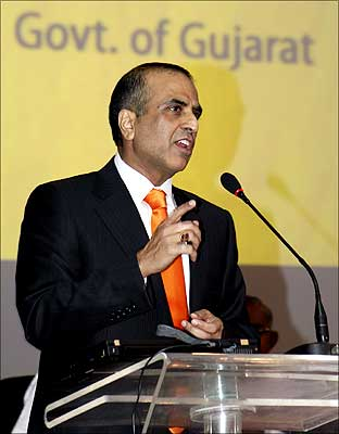 Bharti Airtel chairman Sunil Mittal speaks during the Vibrant Gujarat Global Investors Summit 2009