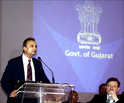 ADAG chairman Anil Ambani speaks during the closing ceremony of the Vibrant Gujarat Global Investors Summit 2009 in Ahmedabad. | Photograph: Amit Dave/Reuters