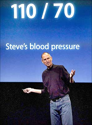 Steve Jobs makes a joke about his blood pressure after introducing the MacBook laptop.