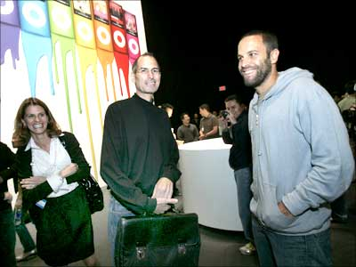 Steve Jobs (centre) and musician Jack Johnson (right) at Apple's 'Let's Rock' event.