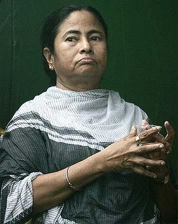 Mamata Banerjee addressing a rally in Kolkata. | Parth Sanyal/Reuters