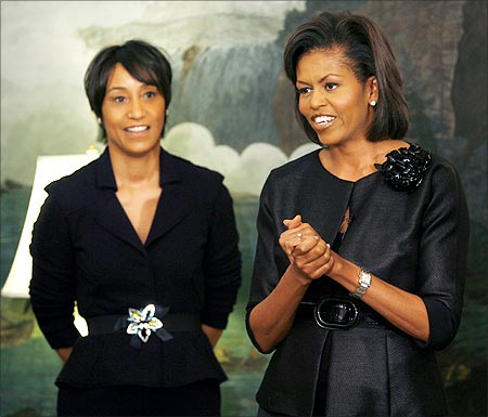 Michelle Obama with White House Social Secretary Desiree Rogers.