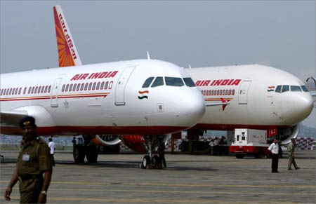 Air India's newly acquired Airbus A321 and Boeing 777-200 LR aircrafts are on display at Mumbai airport.